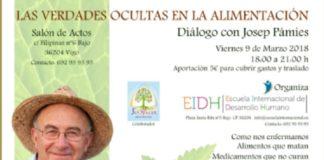 Cartel anunciador da charla de Pàmies no salón de actos dun colexio de Vigo.