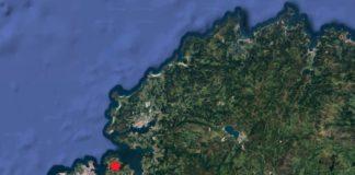 Epicentro do terremoto en Oleiros deste mércores.