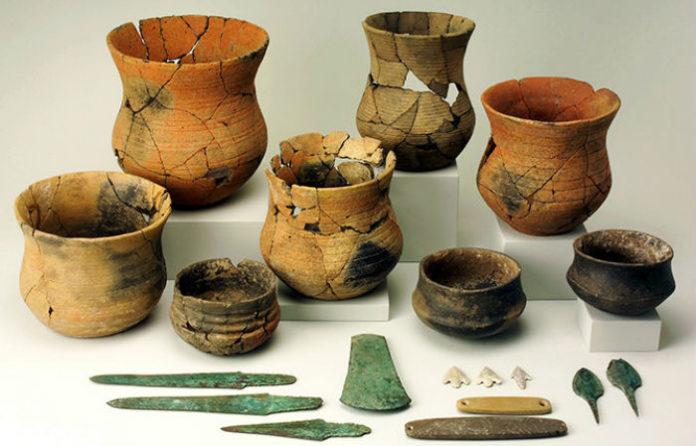Restos campaniformes atopados no túmulo da Sima (Miño de Medinaceli), escavado por Manuel Rojo Guerra. / Alejandro Plaza, Museo Numantino.
