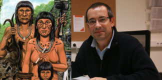 Representación dun grupo de taínos, cuxo xenoma revelou por vez primeira o equipo no que traballou Antonio Salas. Imaxes: ecured.cu / USC.