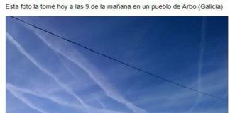 Supostos 'chemtrails' en fotografías tomadas en Arbo (Pontevedra). Imaxe: Facebook.