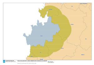 Zona onde se prohíbe a semente de pataca (Muxía) e zona tampón. Fonte: Medio Rural.