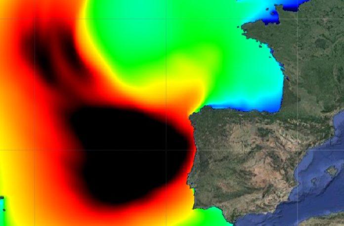 Predición da altura das ondas que causará Félix na páxina de Puertos del Estado. Fonte: puertos.es.