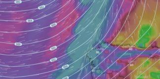 Predición do vento asociado á chegada de Gisele para o mércores a primeira hora. Fonte: Windy.com.