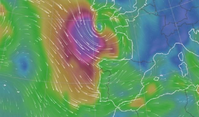 Simulación dos refachos de vento que poderá deixar Hugo nas vindeiras horas. Fonte: Windy.com.