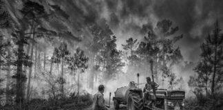Imaxe premiada do fotógrafo Marcos Rodríguez, tomada durante un incendio en Cee.