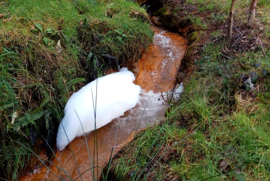 Contaminación no río Portapego, nunha foto tomada o 10 de marzo de 2018. Imaxe: Mina Touro-O Pino Non.