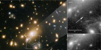 Imaxe en cor do cúmulo MACS J1149+2223 observado polo Hubble.. Á dereita, amósase a zona observada en 2011, onde non se ve a estrela Ícaro, comparada coa de 2016 onde se aprecia claramente esta superxigante azul. / NASA, ESA, and P. Kelly (University of Minnesota).