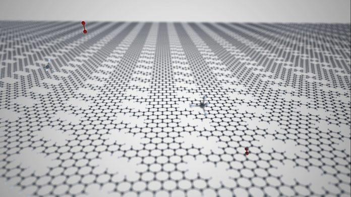 Recreación do filtro atómico de grafeno. Grazas a el, será posible filtrar unhas moléculas e deixar pasar outras. Fonte: CiQUS.
