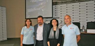 Os investigadores Minia Manteiga, Ana Ulla e Carlos Dafonte, xunto a Salvador Naya, vicerreitor da UDC segundo pola esquerda) durante a presentación do primeiro arquivo de datos de Gaia. Foto: Duvi.
