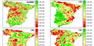 Distribución espacial da composición de metais no solo nos municipios españois:, zinc (Zn), aluminio (Al), manganeso (Mn), na primeira imaxe; e cadmio (Cd), chumbo (Pb) e arsénico (As). / G. López-Abente et al./Environ Sci Pollut Res Int.
