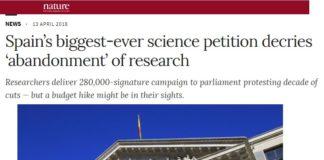 Información de 'Nature' sobre a recollida de sinaturas dos científicos españois.