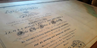 Orixinal da Carta Xeométrica, custodiado pola Fundación Domingo Fontán. Fotos: R. Pan.