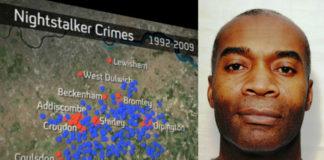Imaxe de Delroy Grant, o depredador de Londres, ao lado dun gráfico que amosa as actuacións polas que se lle acusa e outras nas que podería estar involucrado. Fonte: Channel 4 / Scotland Yard.