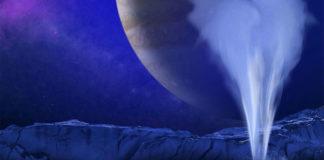 Recreación artística dun dos posibles géyseres de Europa. Fonte: NASA/ESA/K. RETHERFORD/SWRI.