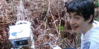 Rafa, alumno de 3º de ESO do Maruxa Mallo, localizou a Marumasat 3 en Negreira. Imaxe: Marumasat.