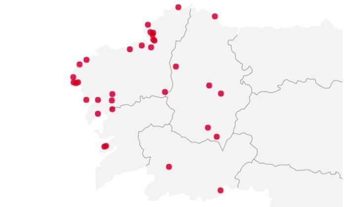 Mapa das zonas de baño nas que a calidade é insuficiente en Galicia. Fonte: UE.