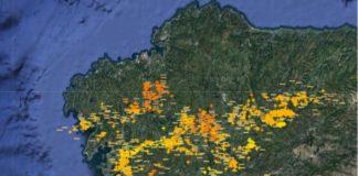 Imaxe do radar de raios de MeteoGalicia pasadas as 20 horas do xoves.