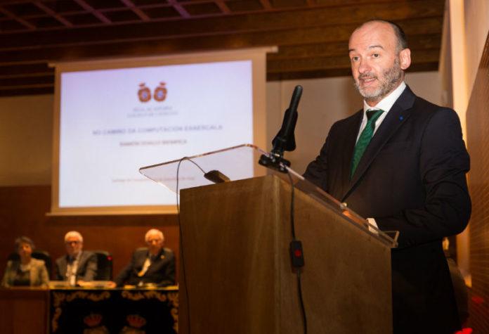 Ramón Doallo, no seu discurso de ingreso na Real Academia Galega de Ciencias. Imaxe: RAGC.
