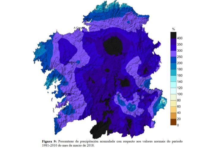 Niveis de chuvia acumulada en marzo en Galicia, onde a media estivo case un 300% por riba do normal. Fonte: MeteoGalicia.