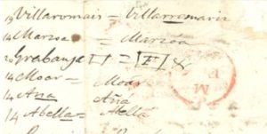 Algunhas das correccións que Fontán enviou a Bouffard entre 1834 e 1845. Fonte: Fundación Domingo Fontán.