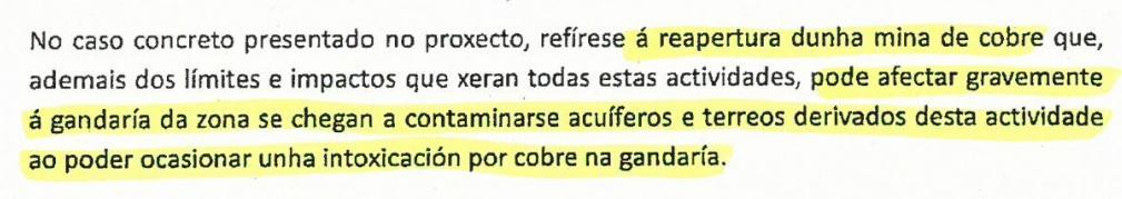 Parágrafo dun dos informes, elaborado pola Dirección Xeral de Gandaría, Agricultura e Industrias Agroalimentarias.