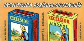 Produtos agrícolas con lindano comercializados hai décadas.