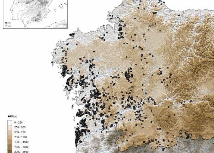 Mapa da distribución dos petróglifos en Galicia. Fonte: GEPN-AAT.