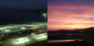 Imaxe tomada a carón da praia de Copacabana, en Rio de Janeiro, e en Carnota á mesma hora, ás 22.40 hora galega.