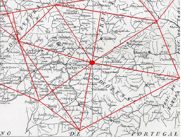 Un exemplo da triangulación da Carta. O vértice da estación de Cabeza de Meda (no centro), serve para trazar numerosos triangulos cos que se mediu a provincia de Ourense. Fonte: Fundación Domingo Fontán / Elaboración propia.