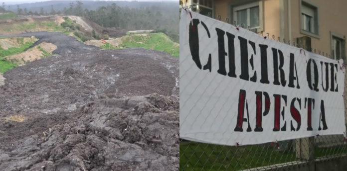 Imaxe dos tecnosoles no monte de Grixoa, e pancarta nunha das casas próximas ao vertedoiro. Imaxe: Lentes Diverxentes.