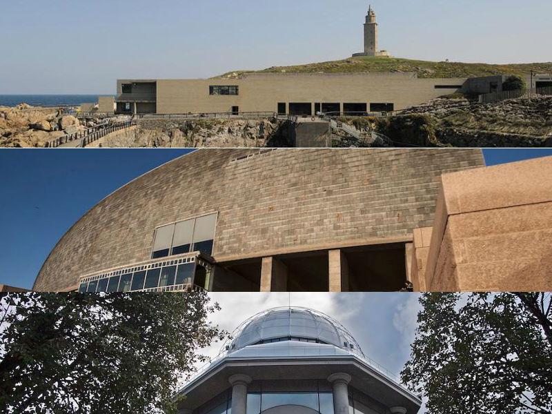 De arriba cara a abaixo, o Aquarium Finisterrae, a Domus e a Casa das Ciencias. Imaxes: coruna.gal.