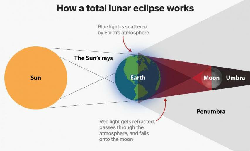 Zonas de sombra e penumbra nunha eclipse de lúa. Fonte: NASA / Bussiness Insider.