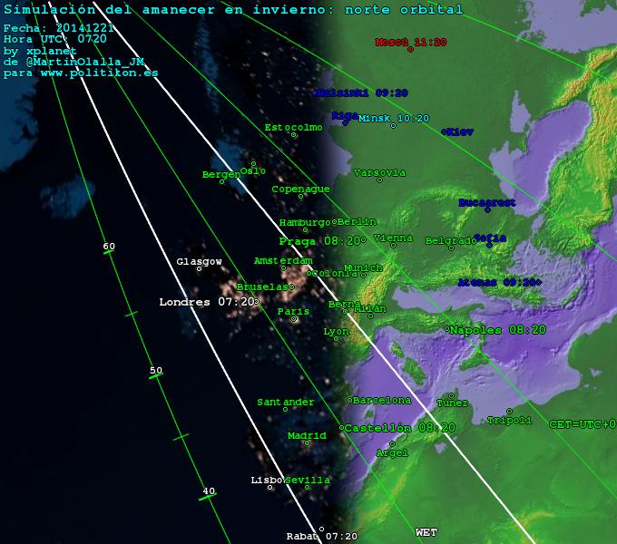Mapa orientado ao norte orbital, en paralelo á liña do amencer. Fonte: José María Martín Olalla.