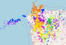 Mapa de raios do sábado 30 de xuño, cando caeron case 6.000 sobre Galicia. Fonte: MeteoGalicia.