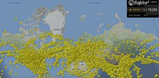 Momento no que se chegaron a rexistrar 19.285 voos no aire ao mesmo tempo. Fonte: Flightradar24.