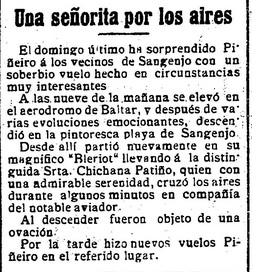 Artigo sobre o primeiro voo de Chichana. Fonte: La Correspondencia Gallega.
