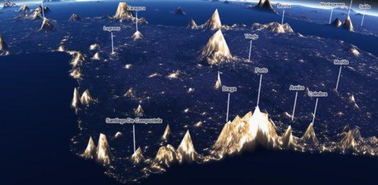 Imaxe da montaña de contaminación luminosa da península Ibérica, coa costa de Galicia e Portugal en primeiro plano. Fonte: 'Earth at night' - Jacob Wasilkowski.