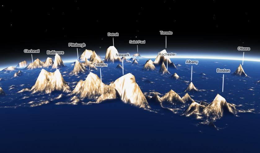 A montaña de contaminación luminosa no nordeste dos Estados Unidos. Fonte: 'Earth at night' - Jacob Wasilkowski.