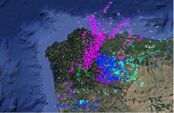 Imaxe do radar de raios de MeteoGalicia, cos rexistrados desde a medianoite do martes ao mércores. Fonte: meteogalicia.gal.