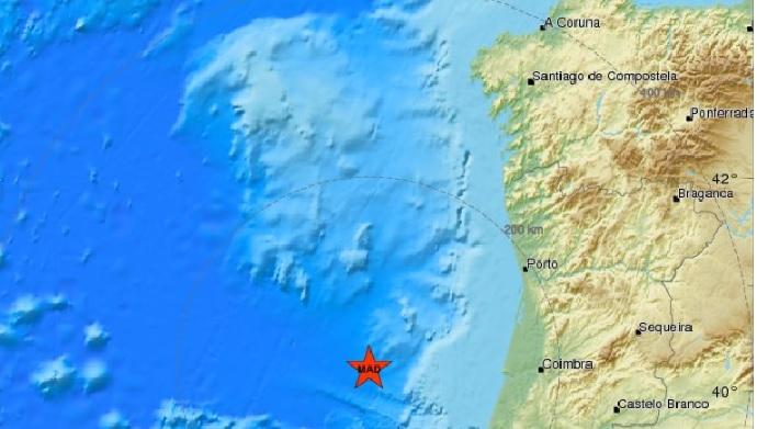 Epicentro do sismo, fronte á Costa de Portugal. Fonte: CSEM.