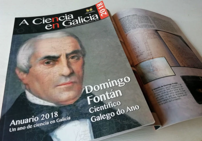 Portada do Anuario da Ciencia en Galicia, dedicado á figura de Domingo Fontán.