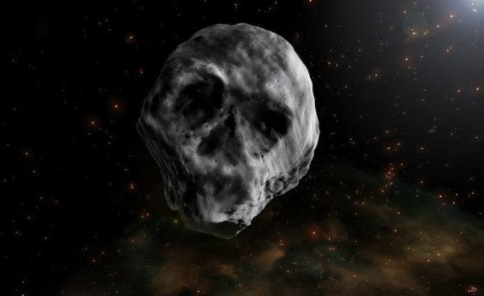 Baixo determinadas condicións de iluminación, o asteroide parece unha caveira. Ilustración: José Antonio Peñas/SINC.