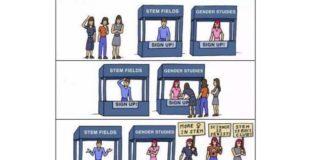 Unha das viñetas usadas por Strumia na presentación na que negaba a discriminación.
