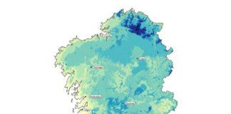 Variación espacial do índice de aptitude do clima (a maior valor, maior aptitude) para vivir en función das preferencias da poboación galega e das condicións climáticas do territorio. Autor: Dominic Royé.