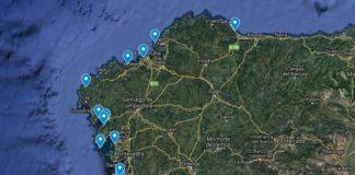 Mapa das praias onde se celebrará a sétima edición da limpeza simultánea de praias. Fonte: Adega.gal.