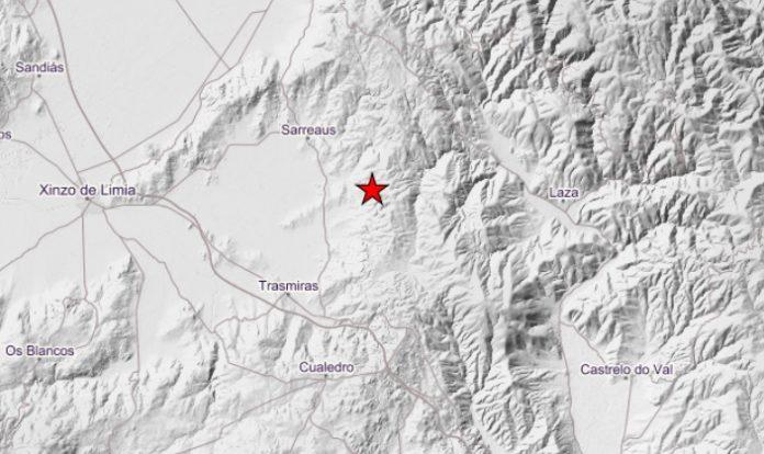Localización exacta do sismo en Ourense, de magnitude 3,3. Fonte: IGN.