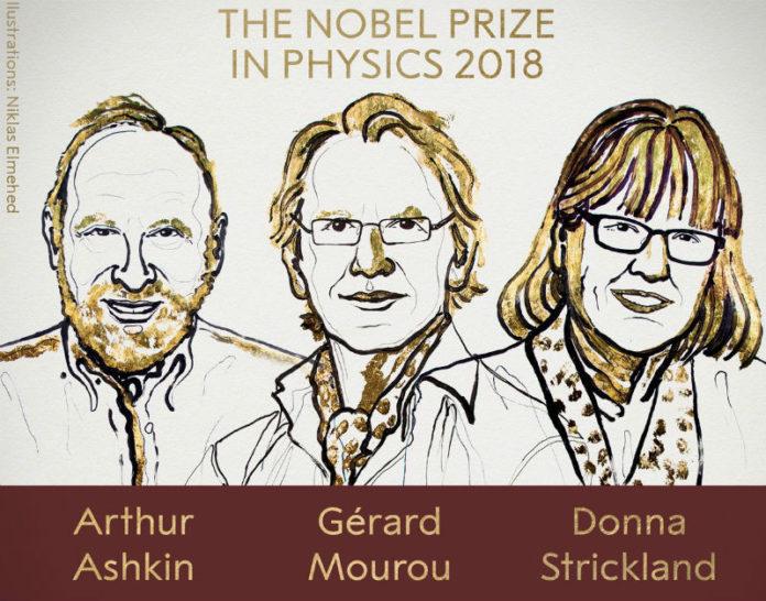 Ilustración dos tres premiados co Nobel de Física. Fonte: Nobel Prize.