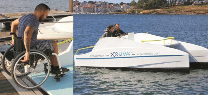 O Xouva conta cunha plataforma de acceso que facilita a entrada ás persoas con mobilidade reducida, un problema habitual nos barcos. Imaxes: xouvaboats.com.