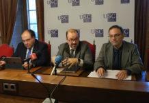 Presentación da feira Abanca-USC; de dereita a esquerda, Gumersindo Feijoo, Antonio López e Miguel Angel Escotet. Foto: Servimav-USC.
